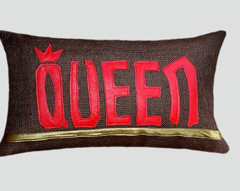 """Decorative Pillow case, Burlap Brown textured Lumbar  pillow case with red Leather word """"QUEEN"""" accent, fits12""""x20"""" insert, great gift."""