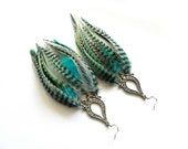"""Long Feather Earrings """"Aquamarine Dreams"""" Turquoise, Aqua, Mint Green, White, Black, Grizzly Striped, Natural, Tribal Fall Winter Fashion"""