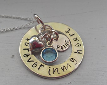 Hand Stamped Forever in My Heart Necklace - Custom Memorial Necklace - Sympathy Jewelry