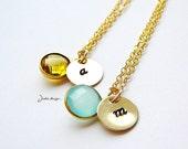 Initial Gemstone Gold Filled Necklace Moonstone Custom Letter Charm Monogram- 3 sets