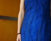 Felted Designer Women's Clothes Blue sleeveless top dress