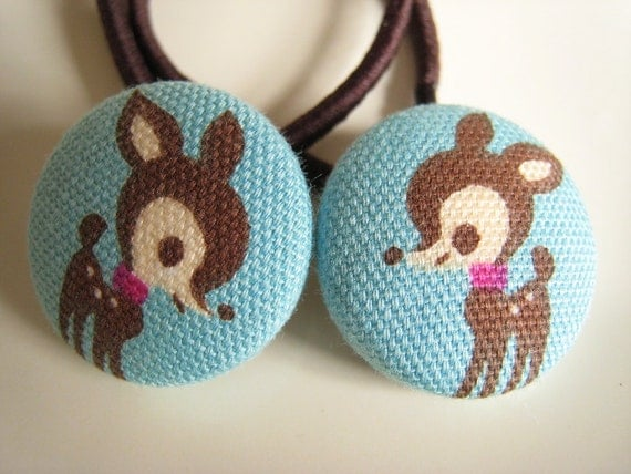 Deer Fawn Hair Bobbles Accessories Elastics Cute Kawaii Mini Small Fabric Buttons for Plaits Bunches Ponytails Blue Brown
