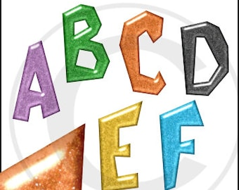 Halloween Colored Sparkly Glittered Alphabet clipart images for digital scrapbooking and card making