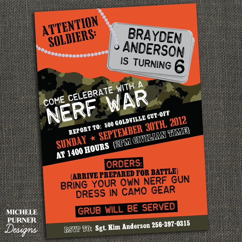 Nerf Invitations is Perfect Layout To Create Perfect Invitation Ideas