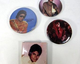 Vintage 1980's Michael Jackson Thriller, Billie Jean, Beat It Novelty Pins Set Of 4