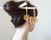 flower double hairsticks japanese kanzashi asian hair pin hair accessories