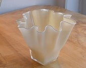 Hand Blown Glass Bowl - Shell Bowl Form - Ivory - by Jonathan Winfisky