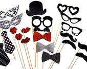 Valentine's Day Photo Booth Props - 20 piece set - Birthdays, Weddings, Parties - Photobooth Props - Black and White