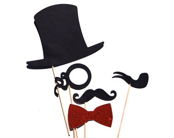 Photo Booth Props - Set of 5 Photobooth Props with Glitter - monocle, pipe, bow tie, top hat, mustache