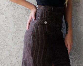 Vintage Striped Brown Skirt
