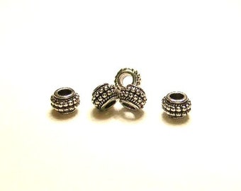 5 Tibetan Silver,Double  Dotted Wheel Spacers, for  European Charm Bracelet, Spacer Beads - Euro