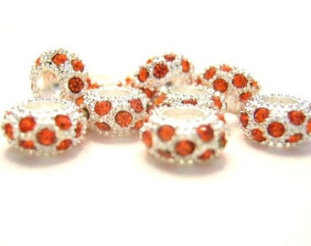 5 Silver w/ Orange Crystal European Style, Large Hole, Charm Bracelets Beads