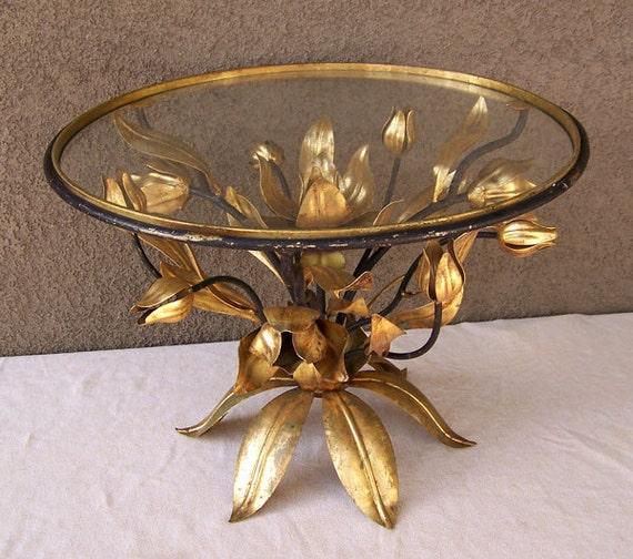 hollywood regency gilt tole table 1940s italian gold gilded
