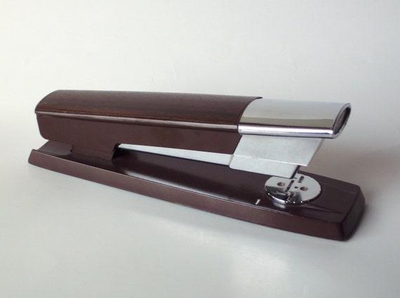 Swingline Faux Teak Wood Stapler Mid Century Modern