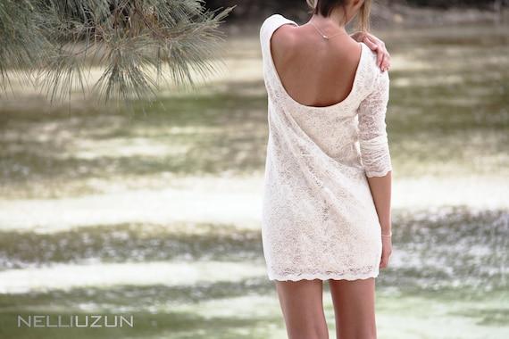 Creamy open back lace dress