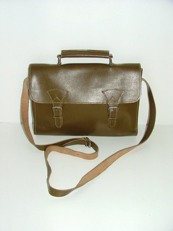 Vintage real leather satchel large shoulder bag across the body school uni work camo brown