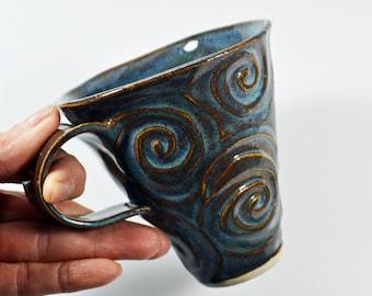 Southwest Swirl Stoneware Mug Blue