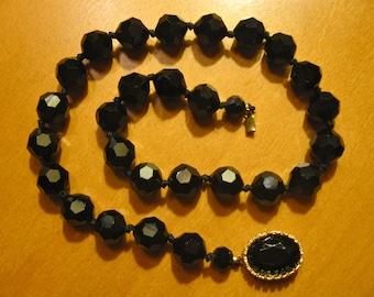 Vintage Jet Black Faceted Glass Crystal Bead Short Necklace Mourning.
