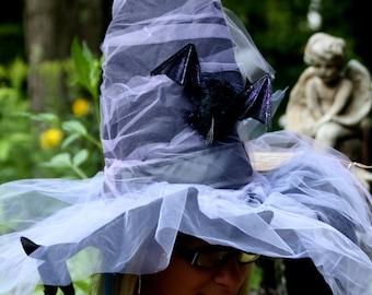 Witch Hat Purple Tulle Bat