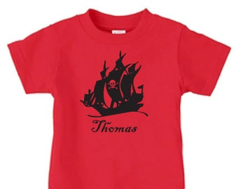 Personalized pirate ship t-shirt, birthday t shirt for a boy