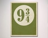Typography // Platform 9 3/4 with Distressed Effect // Poster Print // Wall Art // Childs Room