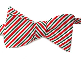 Christmas Striped Bow Tie