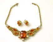 Reserved for Lea - Juliana Delizza Elster Necklace Earring Set Mad Men Party Jewelry Orange Topaz Rhinestone Set