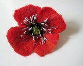 Poppy brooch, felt jewelry, gift for her, red, floral, red pin flower, wool accessories,summer trend, handmade, unique, wearable art