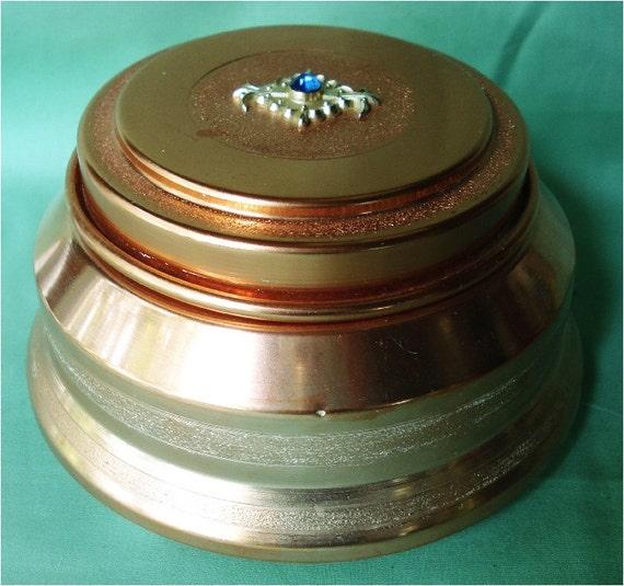 Vintage Powder Puff Music Box Peach Aluminum Art Deco