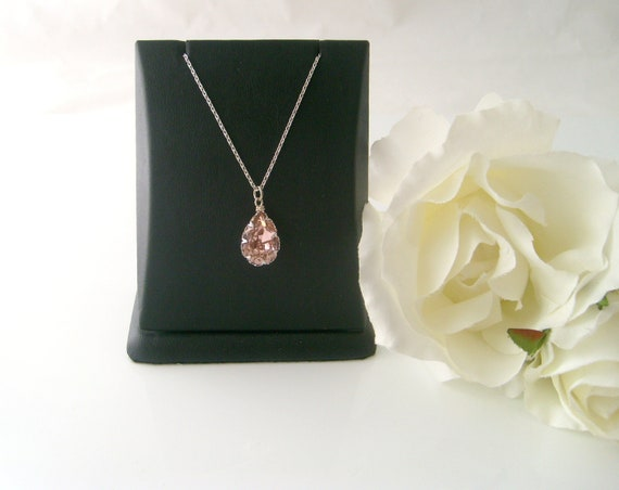 Swarovski crystal vintage pink 14x10 pear bezel trim swarovski crystal flower girl necklace wedding jewelry bridesmaid gift