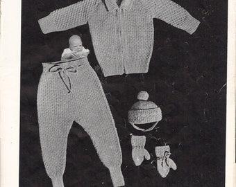 INSTANT DOWNLOAD, Vintage Pattern, Baby, 4 Piece Legging Set , knitting pattern,  PDF pattern