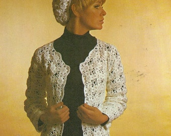 Vintage Crochet Pattern, Ladies Crocheted Jacket and Beret, Crochet Pattern ,  PDF  pattern