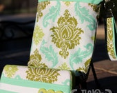 Travel Diaper Changing Set (Gender Neutral) - Wet Bag & Wipes Case - Damask - Olive, Turquoise and Jade
