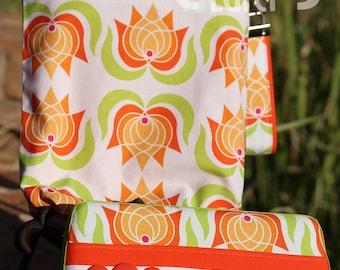 Wet Bag & Wipes Case - Mini Diaper Bag (Boy/Girl/Gender Neutral) - Floral - Orange, Lime and White