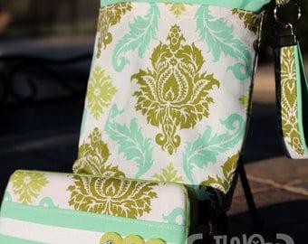 Wet Bag & Wipes Case - Mini Diaper Bag (Boy/Girl/Gender Neutral) - Damask - Olive, Turquoise and Jade