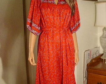 1970s Red Floral Polyester Pull On Day Dress