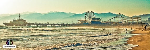 A view of the Pier at Santa Monica Beach, California -- Vintage Panoramic Fine Art Photograph