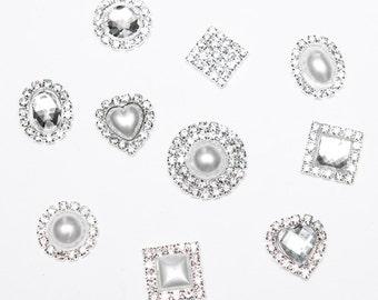 60 PC MIXED Wedding Rhinestone Flat Backs, Invitations, Ring Pillow, Napkin Ring, Hair Bow, Scrapbooking