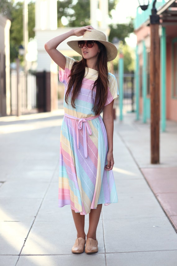 Pastel Striped Cinch Waist Midi Dress - Polly Does Pastel