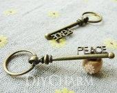 Antique Bronze Letter PEACE Key Charms 51x16mm - 5Pcs - DC24132