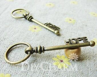 Antique Bronze Letter HOPE Key Charms 51x16mm - 5Pcs - DC24133