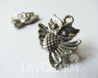 Antique Silver Double Sided Flying Owl Charms 20x17mm - 10Pcs - DF23375