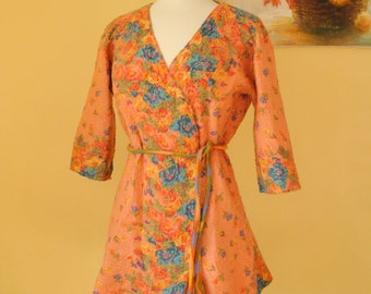 Nuno felted cardigan  blazers,  floral  on peach vest