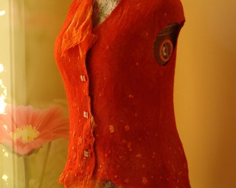 Nuno felted vest, wonderfully beautiful Red