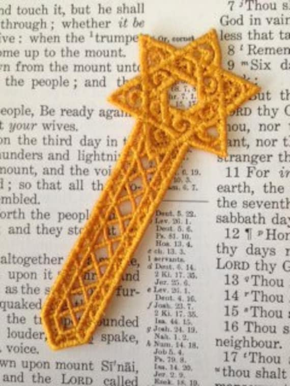 Lace Star of David, Machine Embroidered bookmark,  Embroidery Lace Bookmark, Star of David, Gold Bookmark, Blue Star of David