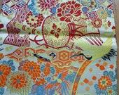 Kimono crane maru obi fabric mum wedding silk