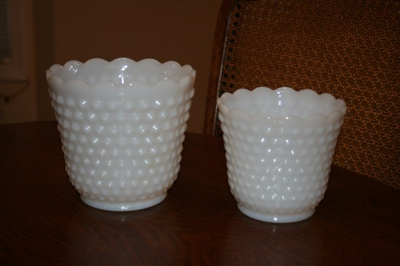Two Vintage White Milk Glass Vase or Planter Hobnail Small and Large Fire King Ware Made in USA Cottage Romantic Chic