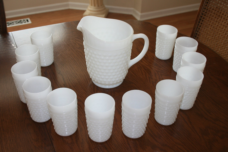 Vintage White Milk Glass Hobnail Pitcher Set of 12 Glasses