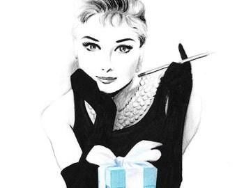 Audrey Hepburn Breakfast at Tiffany's - Pencil and pen drawing