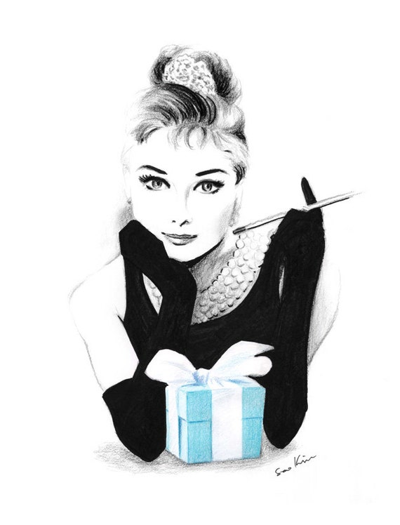 Audrey Hepburn Breakfast at Tiffany's - Pencil and pen drawing